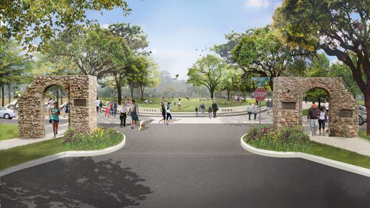 As seen in this rendering, the Kingsbury Commons plan will overhaul the southern end of Pease Park. (Rendering by Clayton & Little Architects)