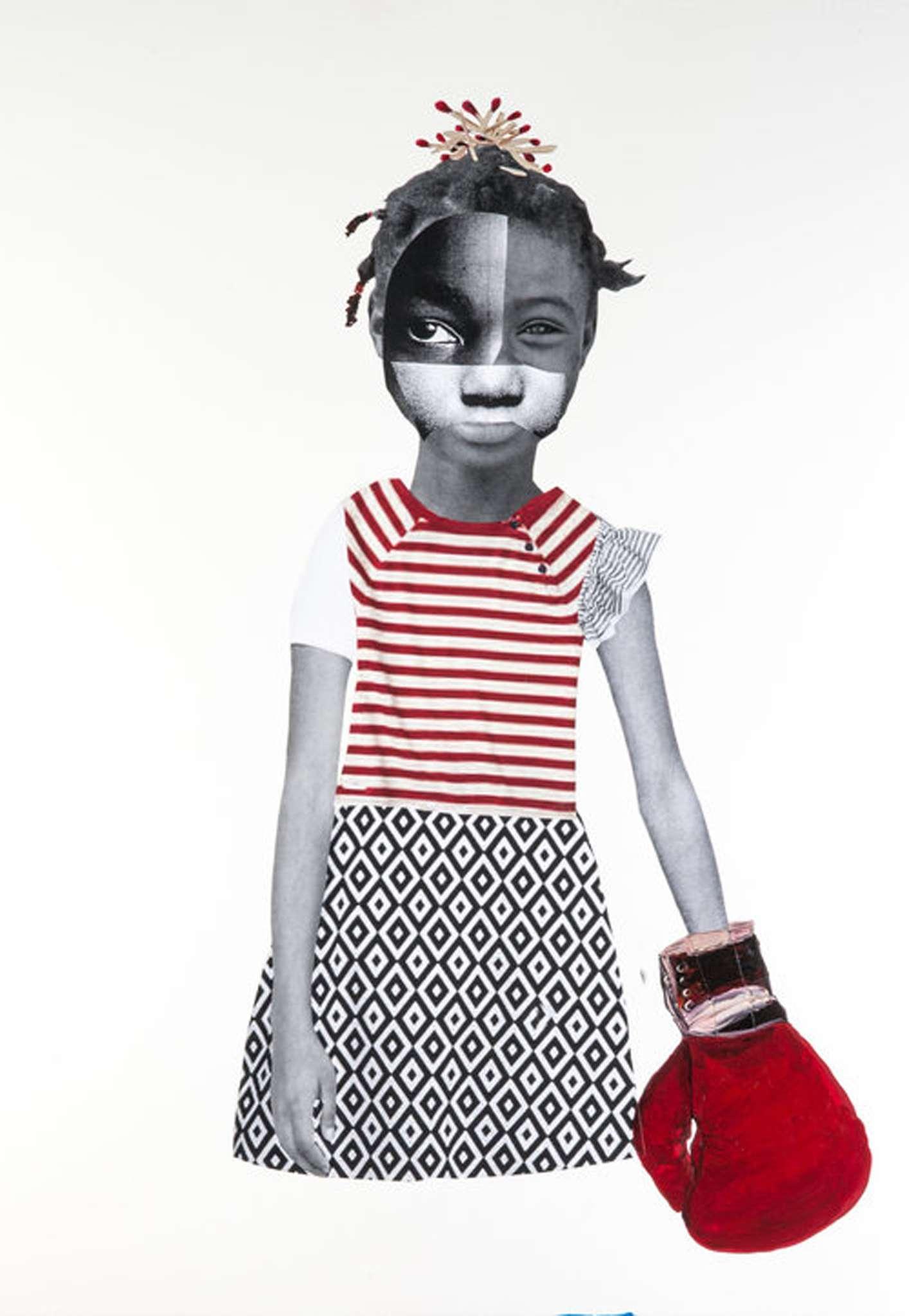 "Deborah Roberts, ""Red Stripes."" 2014"