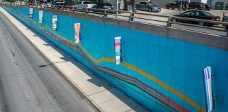 "Laurie Frick's ""Data Tells a Story"" along the Lamar Boulevard underpass in Austin. Photo courtesy Laurie Frick."