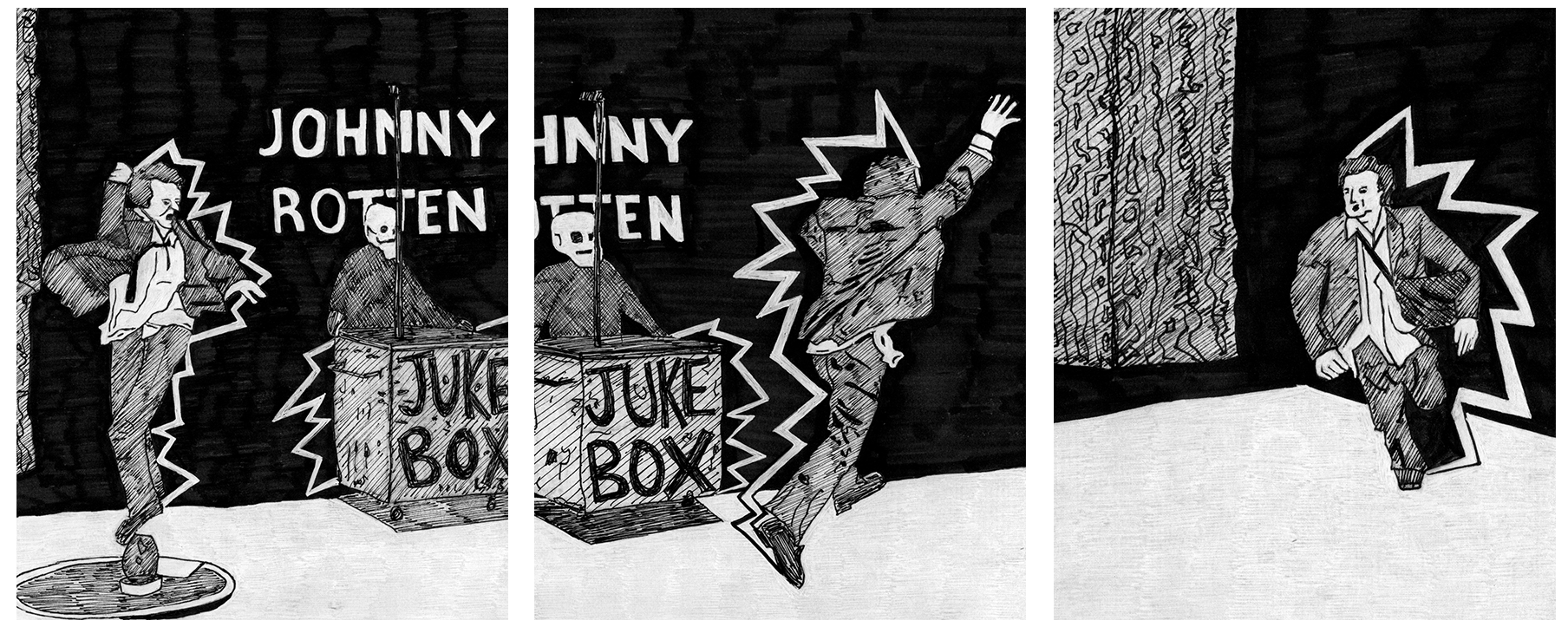 3 frames of Johnny Rotten's audition