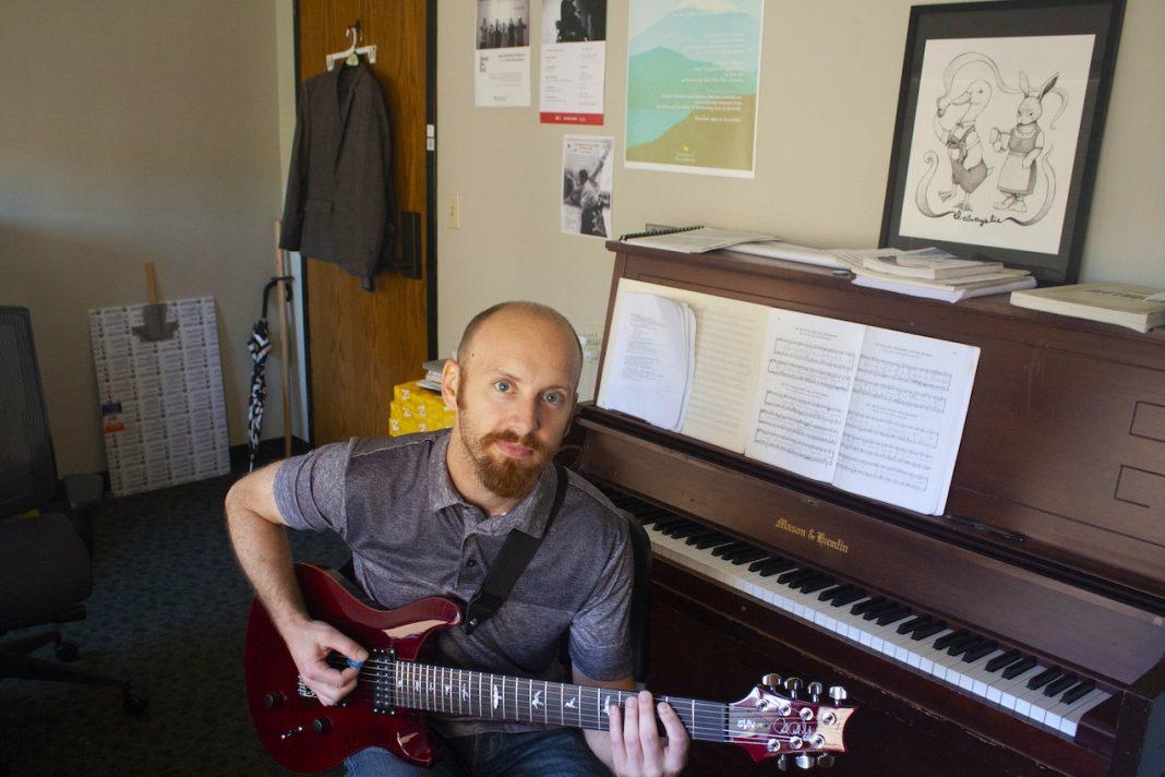 Composer Russell Podgorsek in his office at UT's Butler School of Music.