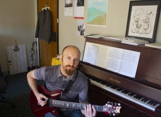 Composer Russell Podgorsek in his office at UT's Butler School of Music.