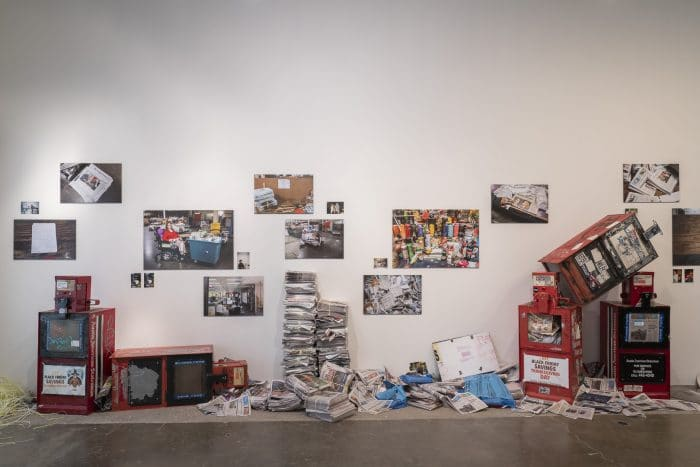 """Installation view of """"Happiness is a Journey."""""""