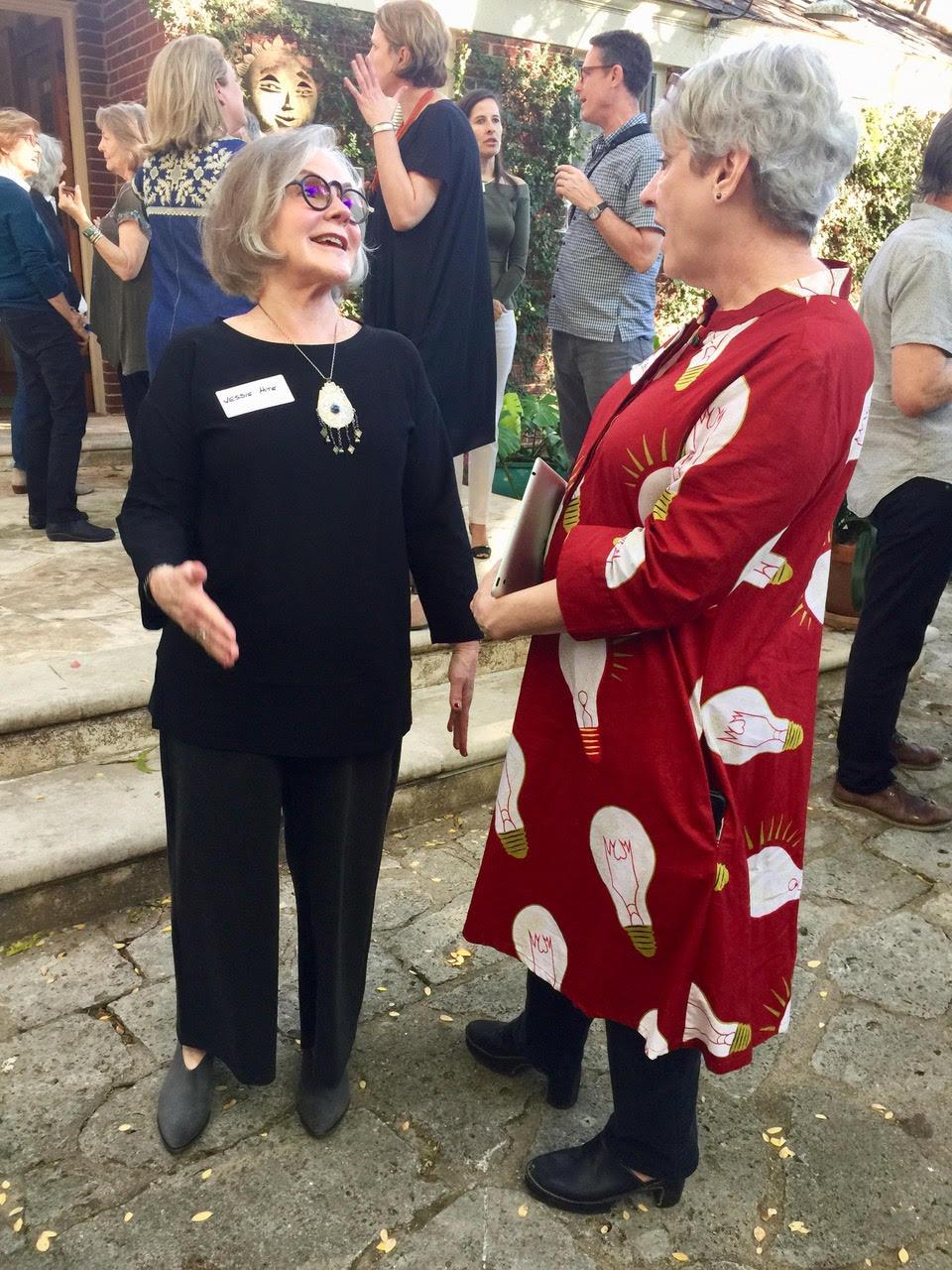 Blanton Museum director emerita Jesse Otto Hite (left) and Sightlines board member Lisa Jones