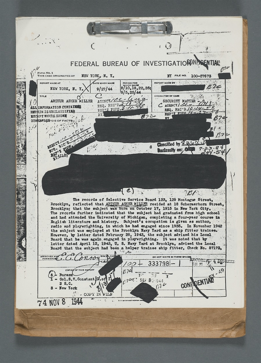 Page from Arthur Miller's three-volume FBI file,