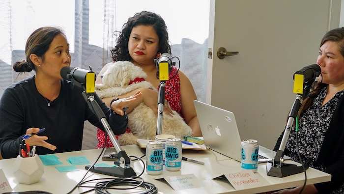 Chelsea Hernandez, right, interviews those facing student debt for a podcast in conjunction with her LINE Hotel residency. Photo courtesy Chelsea Hernandez.