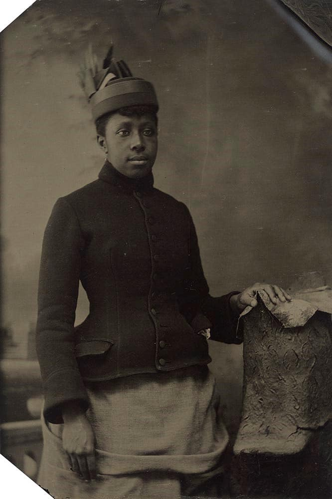 American, Woman with Coat and Hat, 1880s–1910s, tintype, the Museum of Fine Arts, Houston, Museum purchase funded by Bill and Sara Morgan.