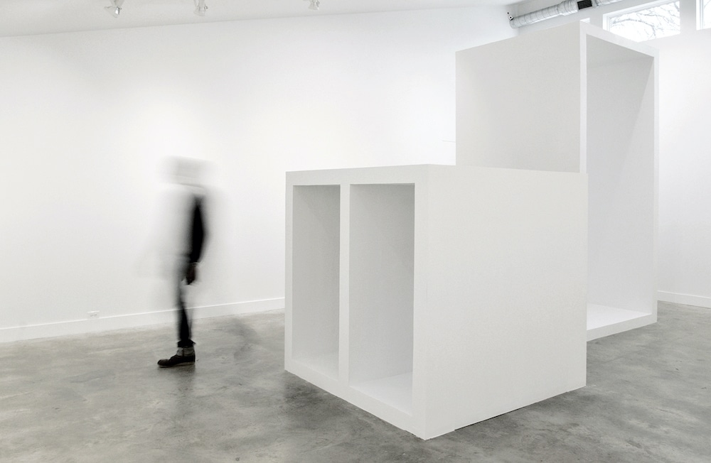 "Installation view of ""Ana Esteve Llorens: Space is a Reality"" at Grayduck Gallery, Jan. 11-Feb. 23, 2020. In the foreground is ""Untitled (Units for Space), ""2020."" Photo courtesy the artist."