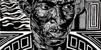 "Detail of a woodblock print by Atlanta based Jamaal Barber who curated ""Soul: Melanted Life in Print' at Link & Pin Gallery"