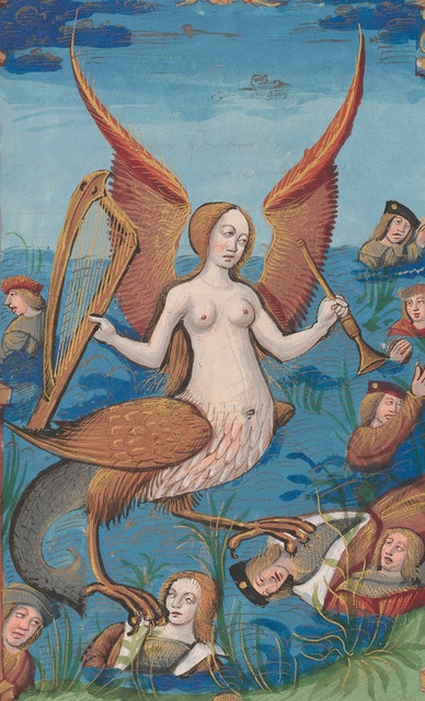 Siren (detail), from Les abus du monde [Abuses of the World], ca.1510,7 11/16 x 5 ¼ in., The Morgan Library & Museum, MS M.42, fol.15r, Purchased by Pierpont Morgan, 1899, Photography by Janny Chiu, 2017
