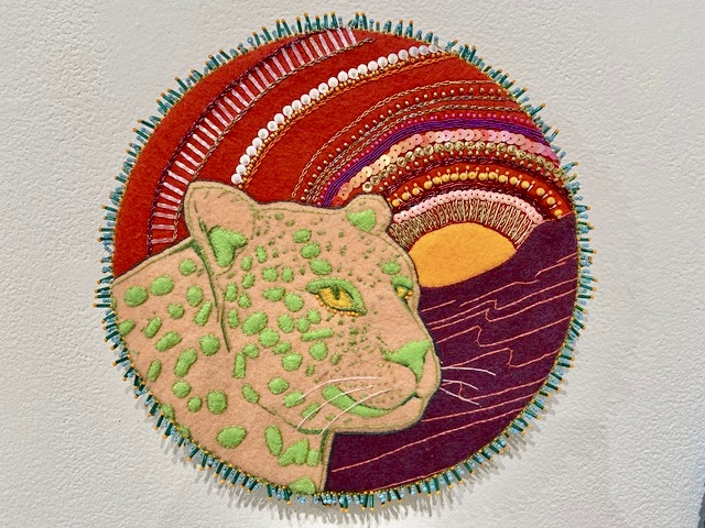 "Nikki Alexander Atkinson, ""Leopard,"" wool felt, cotton thread, glass beads, sequins. 10 inches"
