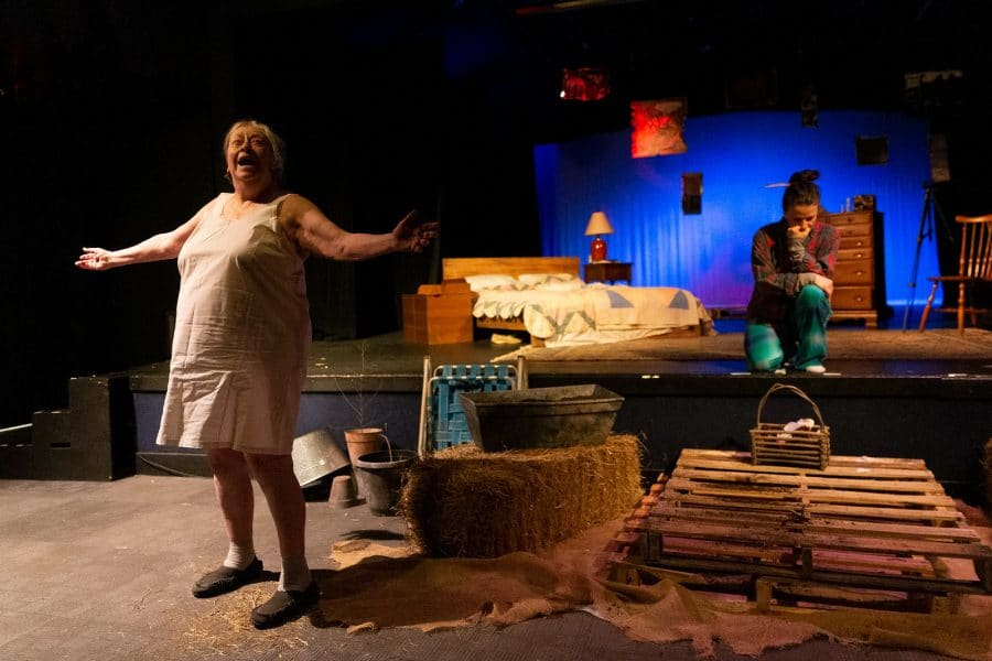 "Jennie Underwood (left) as Bib, and Liz Beckham as June in ""Alabaster."" Stage design by Alex Casillas. Photo by Steve Rogers."