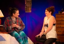 """Liz Beckham as June and Shannon Grounds as Alice in Shrewd Productions' """"Alabaster"""" by Audrey Cephaly, directed of Rudy Ramirez"""