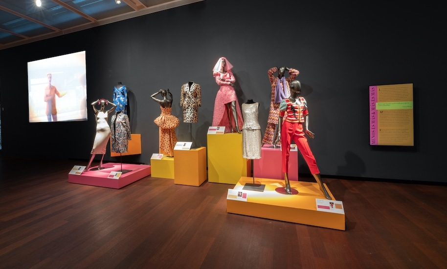 """Installation view of """"Fashion Nirvana: Runway to Everyday"""" at the McNay Art Museum"""