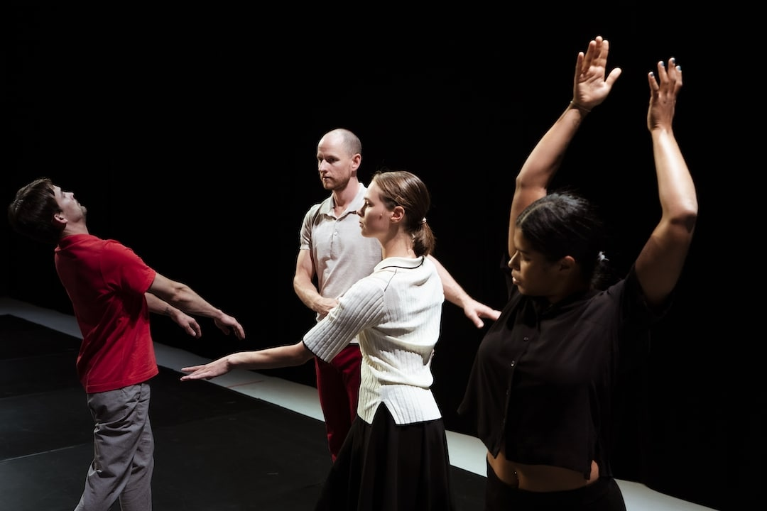Anand Bolder, Adam Schütt, Eleanor Campbell and Suelem de Oliveira da Silva in The Match by Deborah Hay. Photo: Urban Jörén