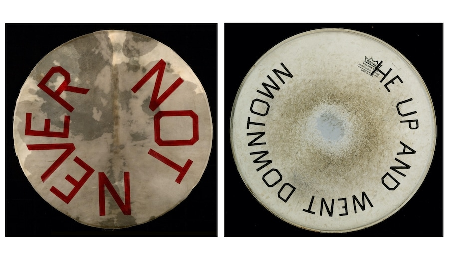 "Ed Ruscha, ""Not Never,"" Acrylic on vellum drum head, 31 5/8 inches diameter. Photo: Paul Ruscha, courtesy of the artist and Gagosian"