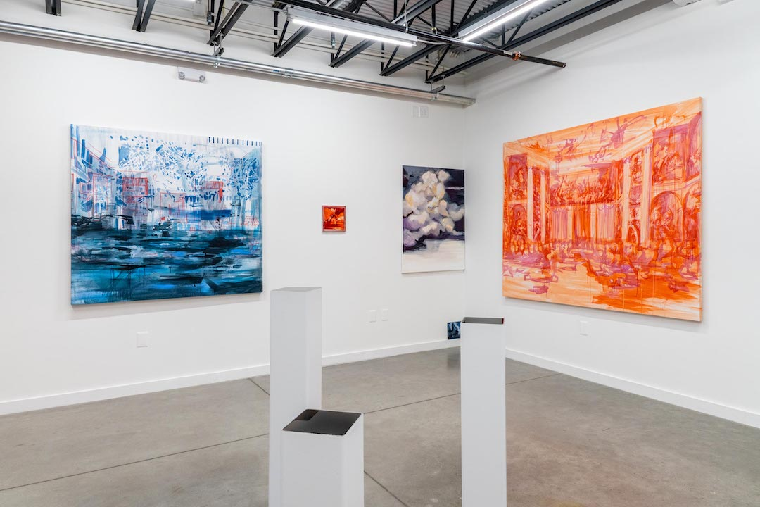 "Installation view of ""Darkening Warmth: Elizabeth Schwaeger"" at Co-Lab Project, Austin, 2020."