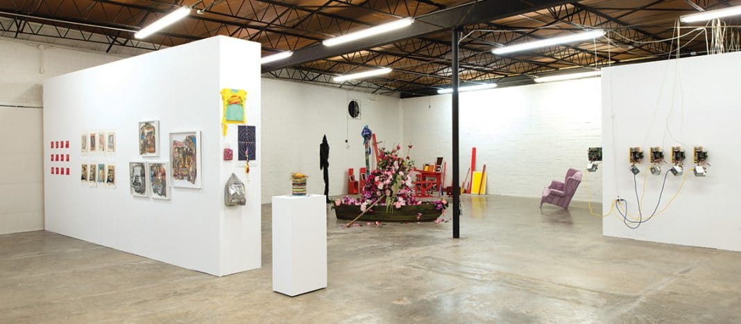 Installation view of the 2017 Texas Biennial exhibition. Image courtesy Big Medium.