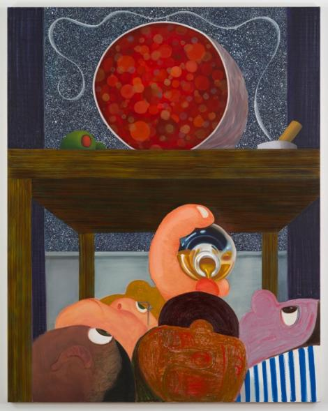 """Nicole Eisenman, """"Under the Table 2,"""" 2014. Oil on canvas, 82 1/4 x 65 inches, Collection Museum of Contemporary Art San Diego."""