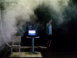 """The 2015 production of """"Match/Play"""" by Austin theater collective the Rude Mechs, performed at New York Live Arts. Pictured is Lana Lesley. """"Match/Play"""" is an adaptation of Deborah Hay Dance Company's Bessie award-winning dance, """"The Match,"""" which premiered at Danspace Project at St"""
