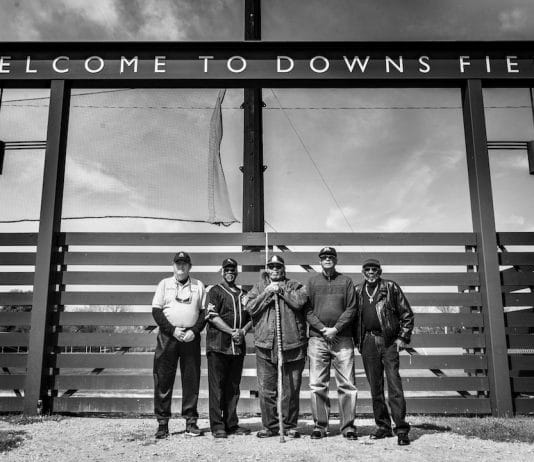 "Dick ""Lefty"" O'Neal, Lawrence ""Fireball"" Tucker, Willie ""Big Ray"" Hale, Lawrence ""Ditney"" Johnson, and Allen ""Bam Bam"" Hicks, who have played at Downs Field. Photo by Cindy Elizabeth"