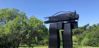 "David Deming's ""Mystic Raven"" (1983), is part of the collection of The Contemporary Austin, now installed in Pease Park. Photo by Jack Plunkett"