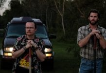 "Clark Duke plays Swin, and Liam Hemsworth is Kyle in ""Arkansas."" Credit: LionsGate"