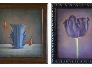 "Two artworks from Kate Breakey's solo exhibition ""Black Tulips & Dead Flowers,"" At Stephen L. Clark Gallery. On the right, ""Blue Vase, Two Dead Flowers"" and, on the right, ""Black Tulip VII."""