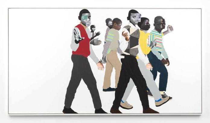 Deborah Roberts, When you see me, 2019. Mixed media and collage on canvas. 65 x 120 inches. Framed, 67 1/4 x 122 inches. Artwork © Deborah Roberts. Image courtesy the artist and Stephen Friedman Gallery, London.
