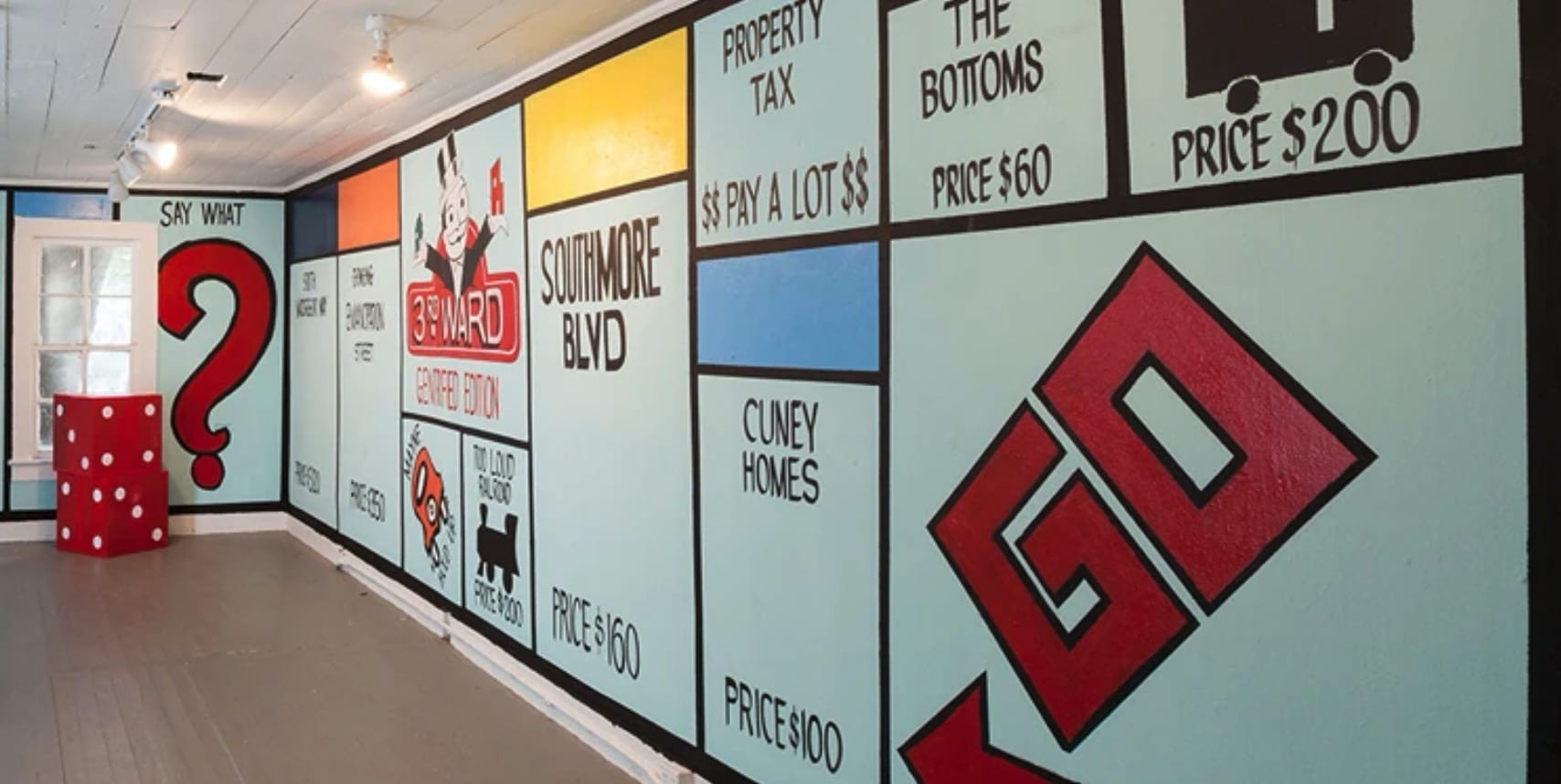 Marc Newsome's installation at Project Row Houses imagined Monopoly game representing the gentrification of Third Ward.