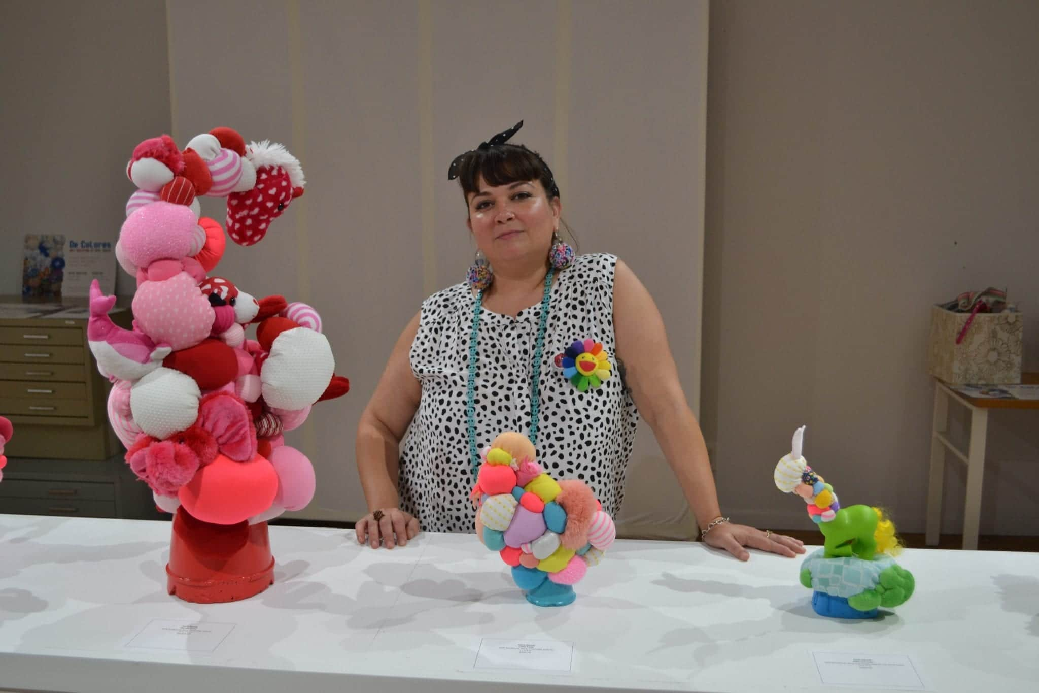 April Garcia with some of her biomorphic soft sculpture.