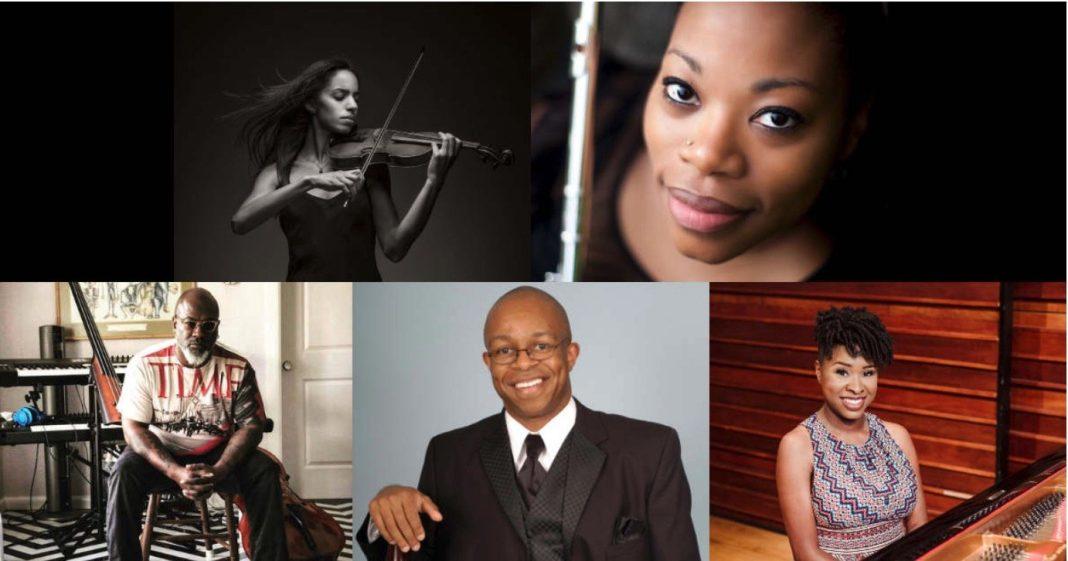 Clockwise from upper left: Anyango Yarbo-Davenport, Ebonee Thomas, Artina McCain, Lecolion, Washington and Derek Menchan.
