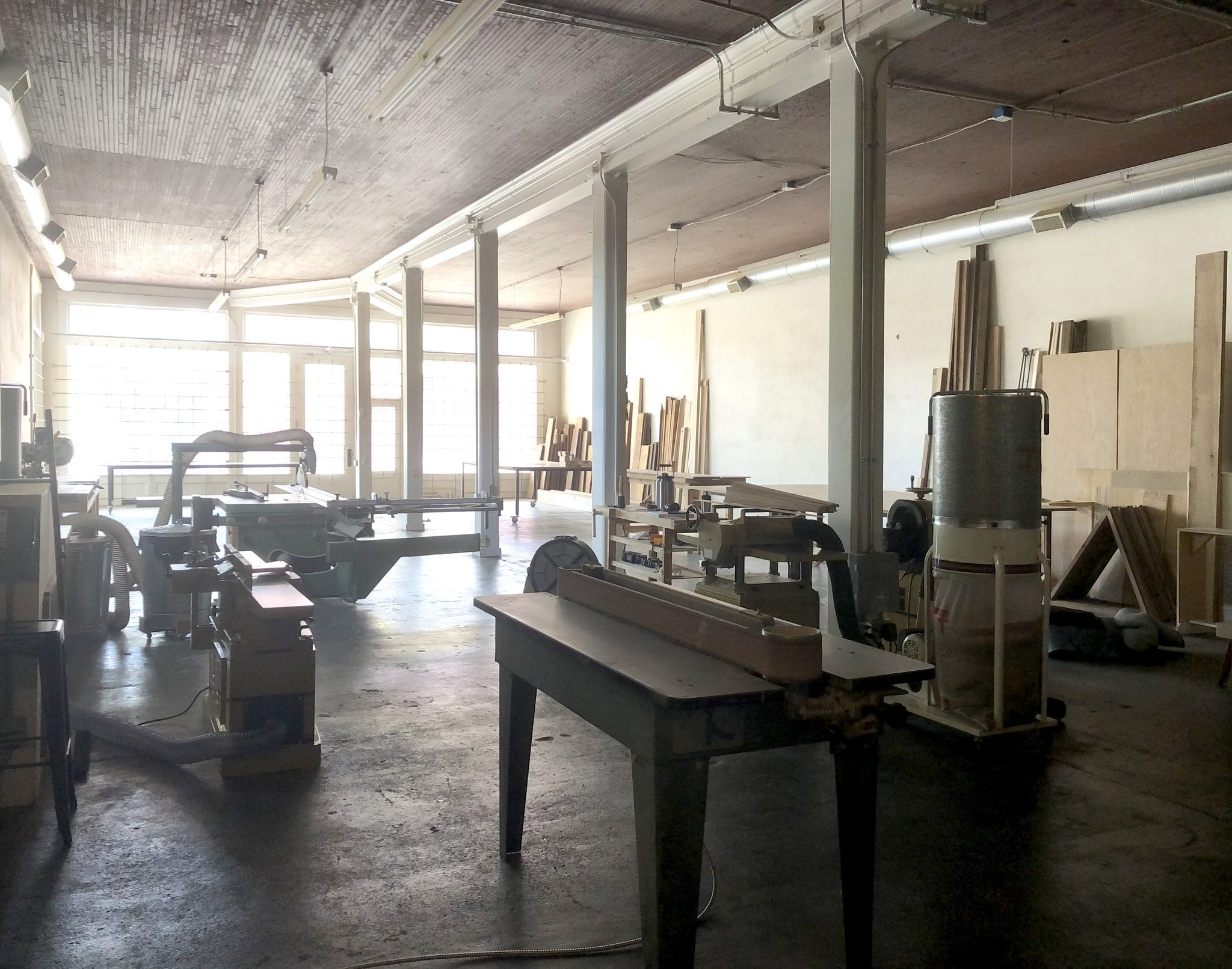 The woodshop on the first floor of 100W