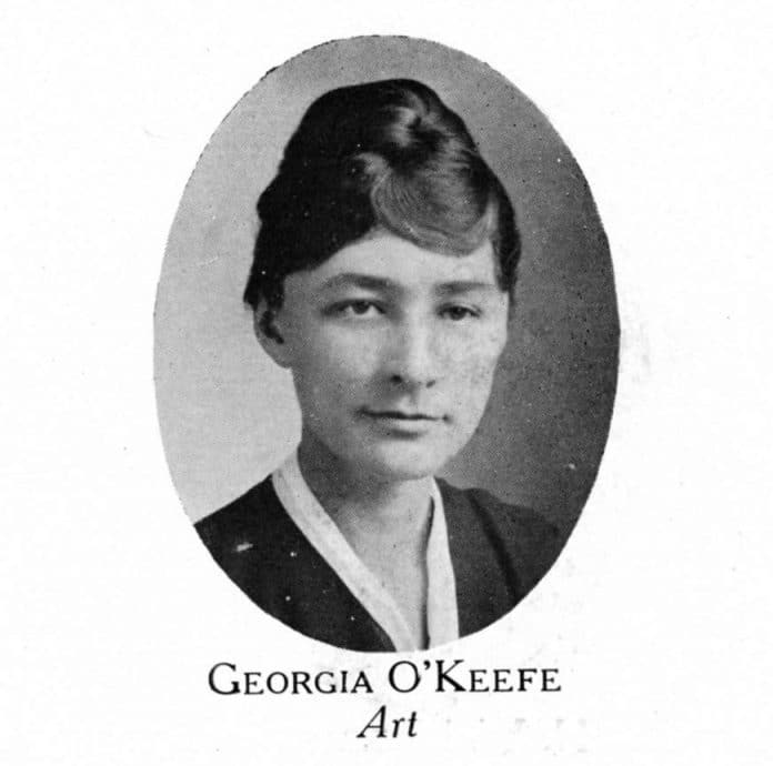 Georgia O'Keeffe's faculty portrait in the 1917 yearbook of West Texas Normal College, now West Texas A&M University.