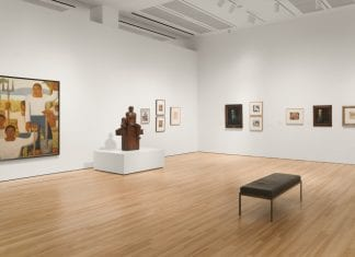 Installation view of The Avant-garde Networks of Amauta: Argentina, Mexico, and Peru in the 1920s at the Blanton Museum of Art, The University of Texas at Austin