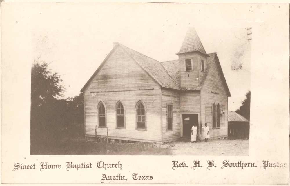 An undated postcard of the Sweet Home Missionary Church in Clarksville