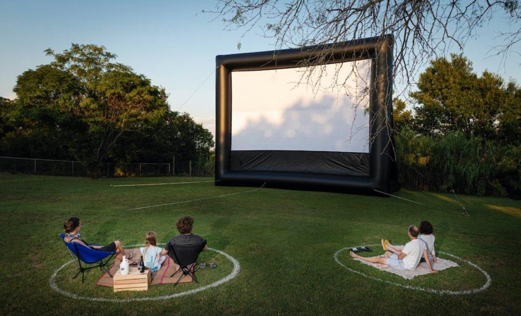 The Rocket Cinema set-up at Rogge Ranch House
