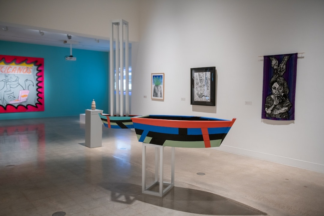 """Between Two Worlds,"" installation view, Visual Arts Center, The University of Texas at Austin, September 25 – November 20, 2020. Photo: Sandy Carson."