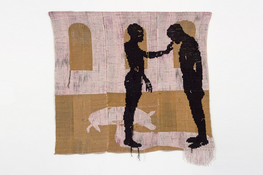 Diedrick Brackens, opening tombs beneath the heart, 2018. Woven cotton and acrylic yarn, 79 x 72 in. Collection of Robert Shiell. Image courtesy the artist; Various Small Fires, Los Angeles / Seoul; and Jack Shainman, New York © Diedrick Brackens