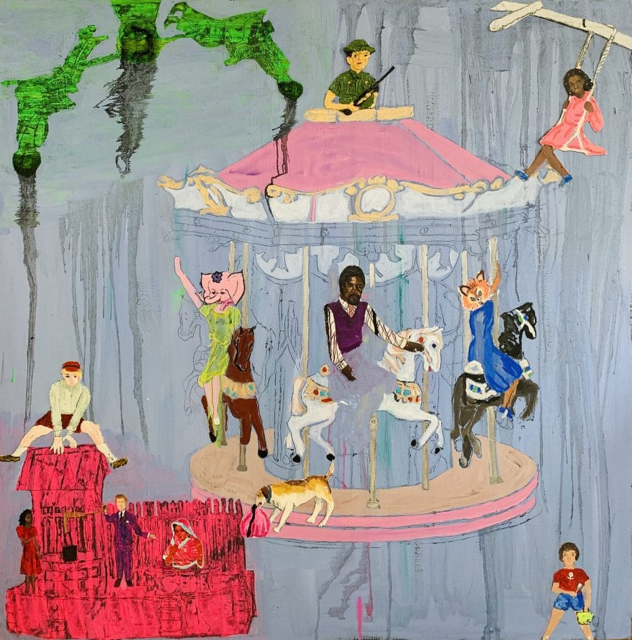 """Shelli Tollman Just One More Time. 2019 Oil, collage on canvas. 36"""" x 36"""""""