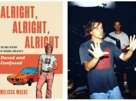 """Melissa Maerz's new book """"Alright, Alright, Alright: The Oral History of Richard Linklater's Dazed and Confused,'"""" and Richard Linklater on the set of """"Dazed and Confused"""" in 1993"""