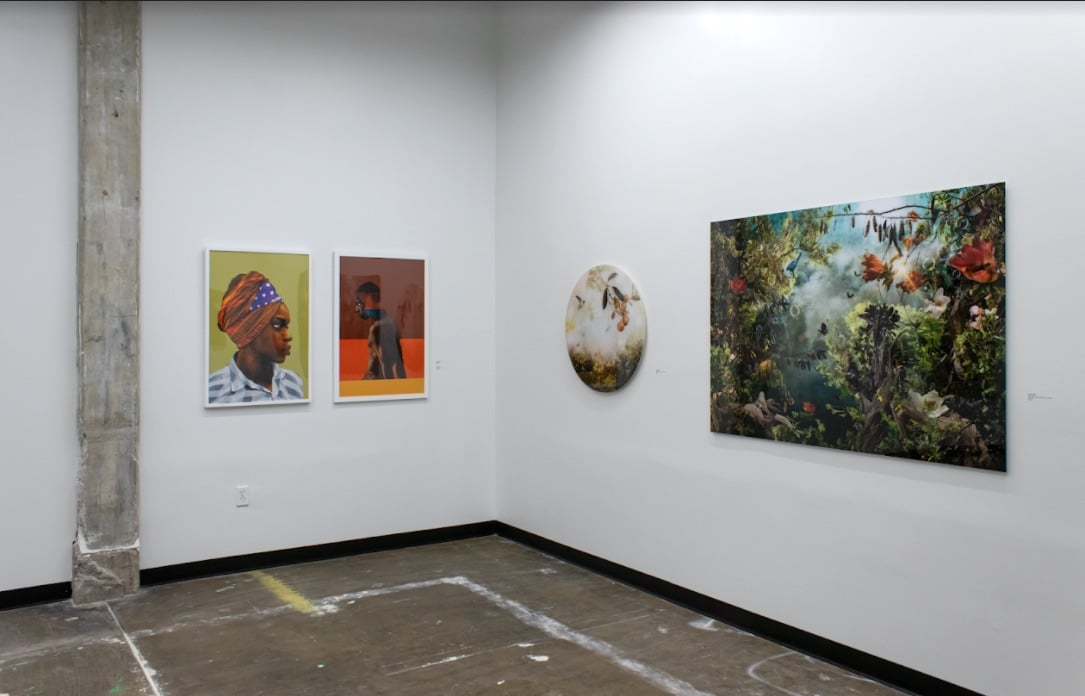"Photo print digital collages by Dave McClinton (left) and digitally composed photo print ""hyper-collages"" by Ysabel LeMay on the right. Image courtesy Ivester Contemporary"