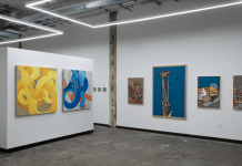 "Installation view of ""Maiden Voyage,"" the first exhibition at Ivester Contemporary, a new gallery in Austin. On the left are paintings by Sydney Yeager; on the right paintings by Tom Jean Webb."