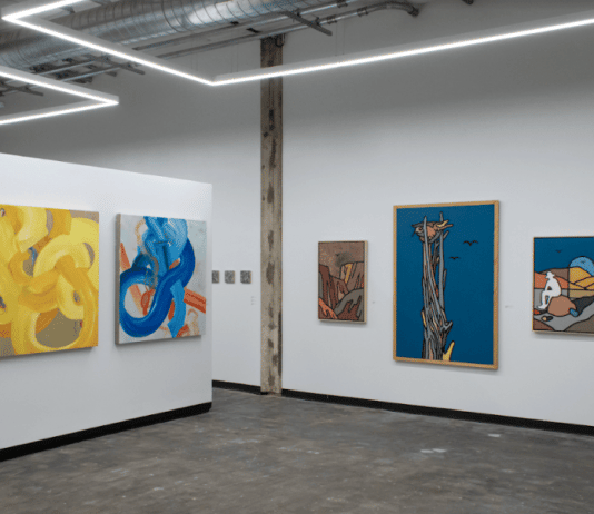 """Installation view of """"Maiden Voyage,"""" the first exhibition at Ivester Contemporary, a new gallery in Austin. On the left are paintings by Sydney Yeager; on the right paintings by Tom Jean Webb."""