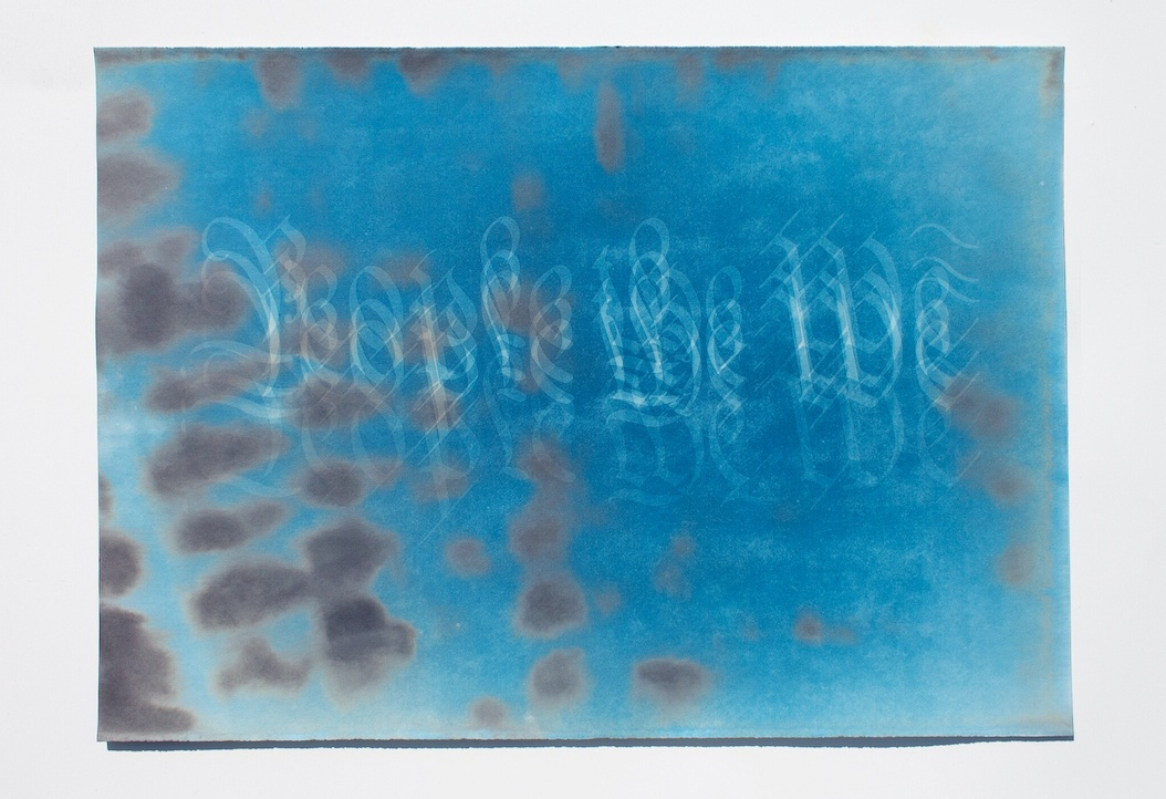 Adrian Aguilera and Betelhem Makonnen untitled (people the We or those in the wake) Cyanotype paint on watercolor paper, and UV light 20 in x 28 in 2020