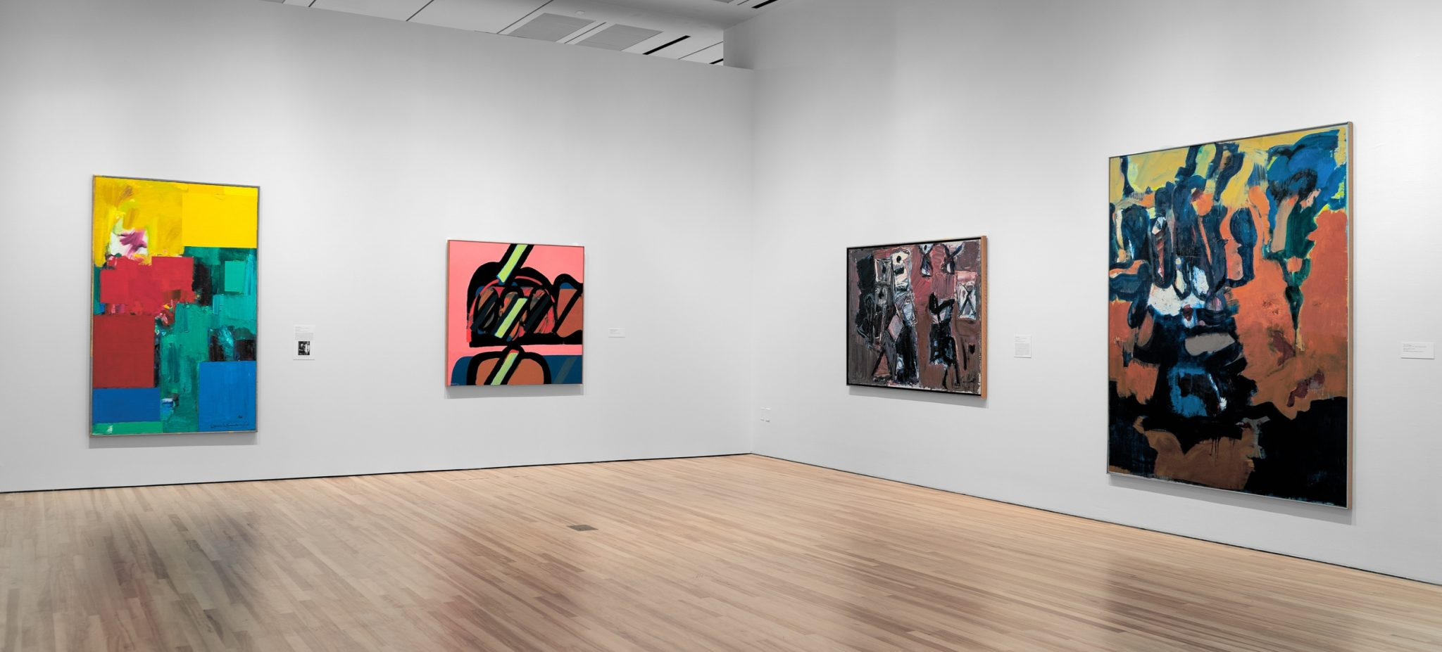 nstallation View ofExpanding Abstraction: Pushing the Boundaries of Painting in the Americas 1958–1983, with from left:Hans Hoffman, Elysium, 1960; Manuel Hernández Gómez, Formas, 1969; Iberê Camargo, Andamento, 1976; Grace Hartigan, Mountain Woman, 1964, Blanton Museum of Art, The University of Texas at Austin, October 4, 2020–January 10, 2021,© 2020Renate, Hans & Maria Hofmann Trust/Artists Rights Society (ARS), New York