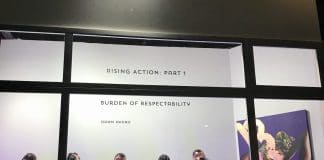 """Dawn Okoro's """"Burden of Respectability"""" at Dimension Gallery. Photo by David Wright"""