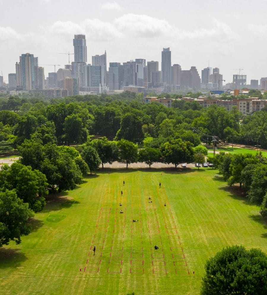 P A R K S P A C E at Zilker Park with Austin's growing skyline in the background. Photo by Ryan Conway courtesy of Gensler