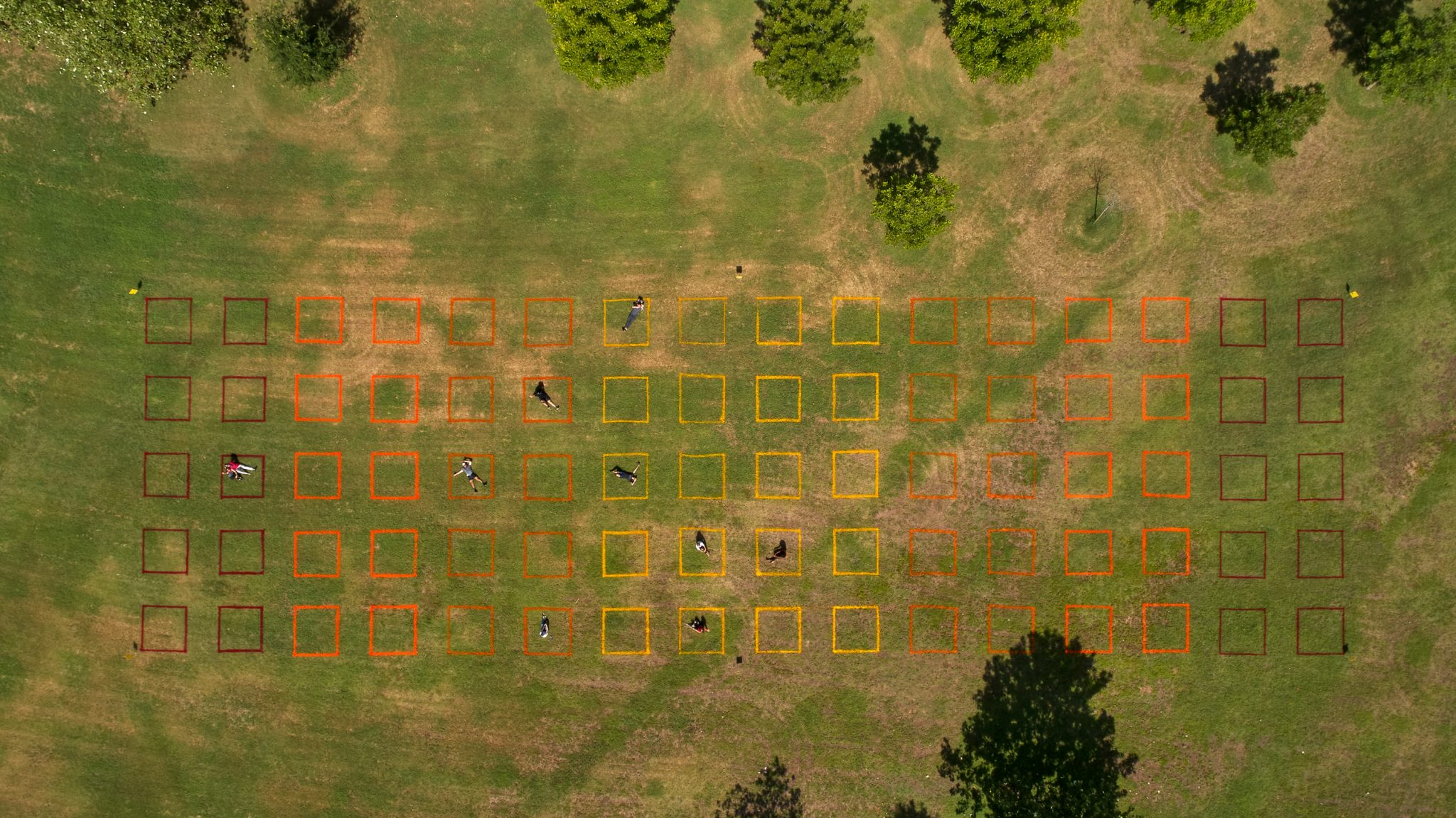 Overhead view of the P A R K S P A C E grid at Roy G Guerrero Park in East Austin. Photo by Ryan Conway, courtesy Gensler and Austin Foundation for Architecture
