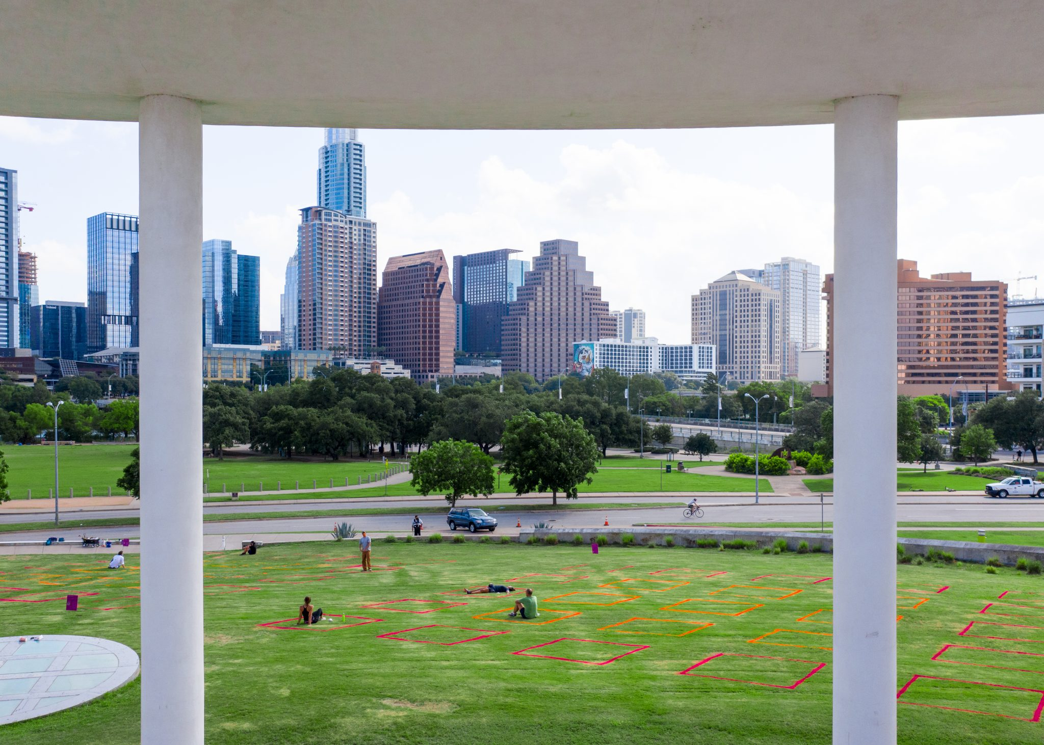 The lawn at the Long Center was a site for P A R K S P A C E and hosted several outdoor programs last summer. Photo by Ryan Conway, courtesy Gensler and Austin Foundation for Architecture.